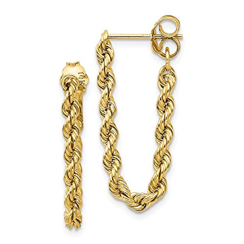 14k Yellow Gold Rope Post Stud Earrings Drop Dangle Fine Jewelry Gifts For Women For Her