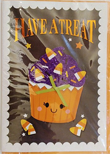 Have A Treat - It's A Sweet, Spooky Time of the Year! Happy Halloween Greeting Card w/ 3D Cupcake]()