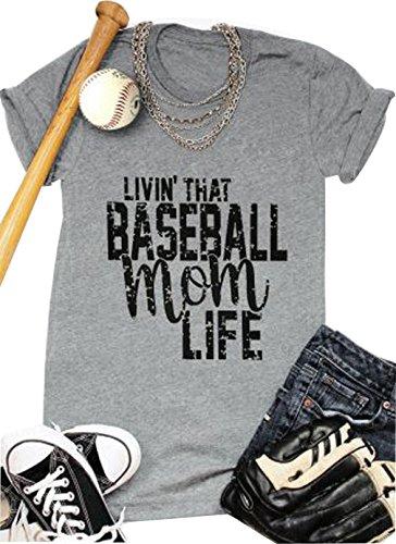 b8adc697 LONBANSTR Women Livin'That Baseball Mom Life T Shirt Short Sleeve Tops Tee