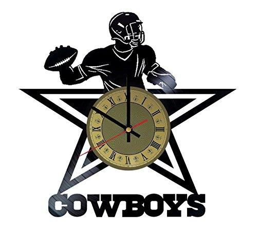 Dallas Cowboys Football Team vinyl wall clock - handmade artwork home bedroom living kids room nursery wall decor great gifts idea for birthday, wedding, anniversary - customize your (Gold/Black) by STP Cat