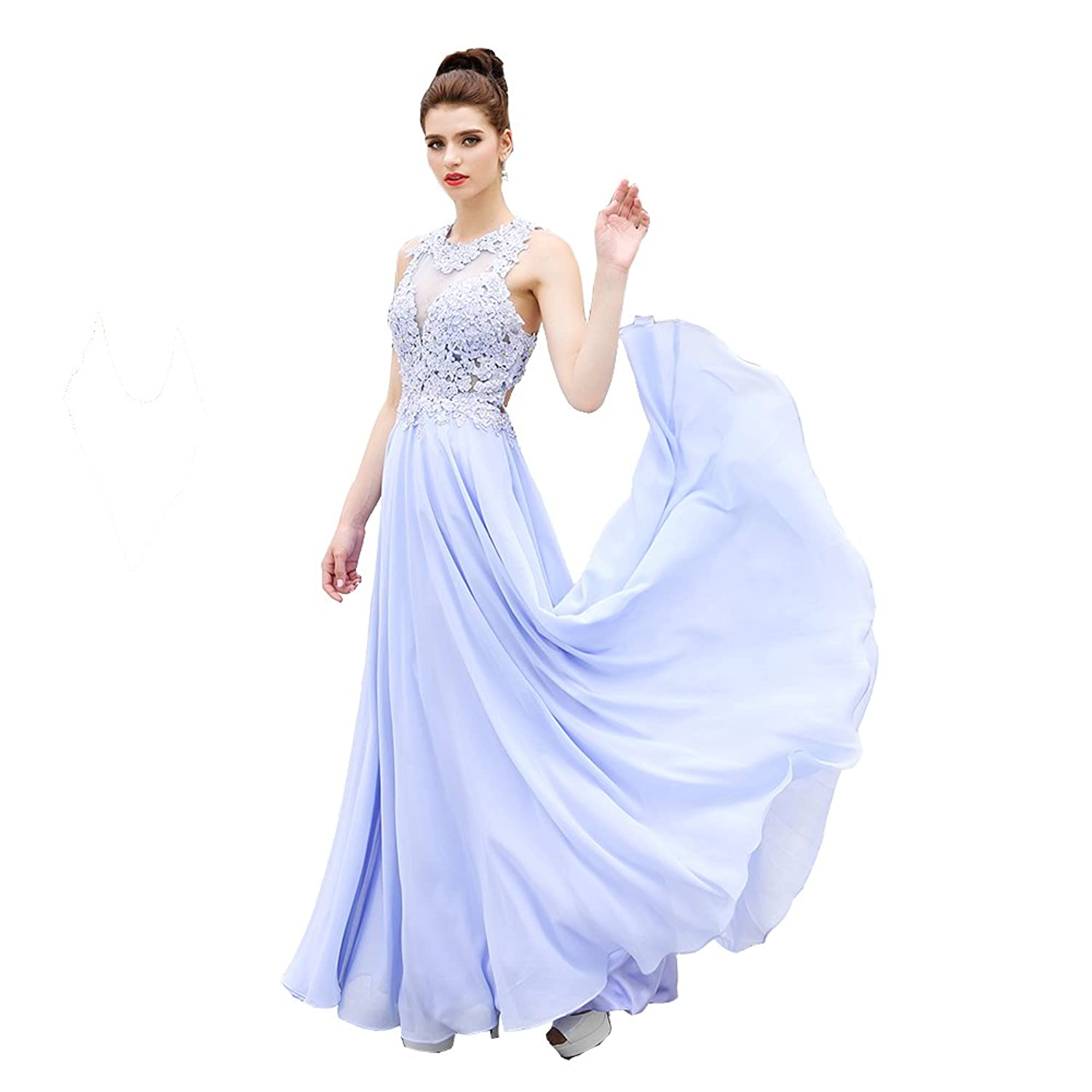 HONGFUYU? Gorgeous A-Line High Neck Lace Prom Dress Beading Evening Gown