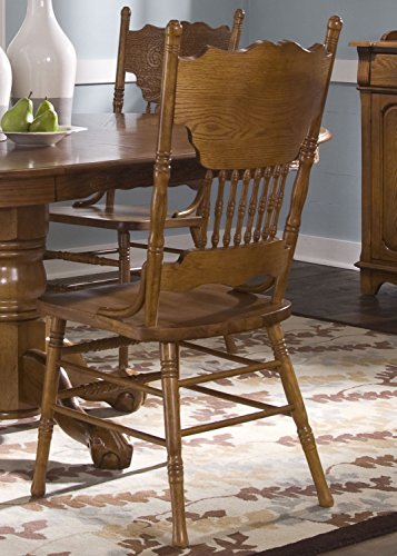 Liberty Furniture Nostalgia Press Back Dining Side Chair in Medium Oak