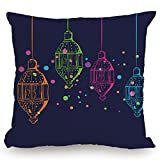Throw Pillow Cushion Cover,Lantern,Candles in Night Sketch in Various Colors with Dots Arabian Motifs Decorative,Dark Purple Multicolor,Decorative Square Accent Pillow Case