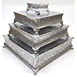 Benzara Aluminum Cake Stand a Dining Area Specific Decor, Set of 4