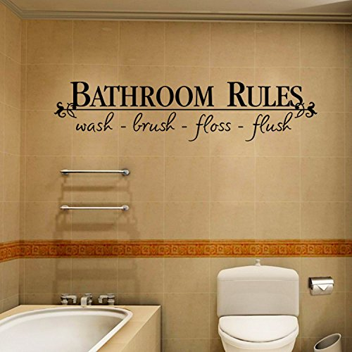 JB JJ011 Wall Stickers Black Text Words for Home Cafe Shop Decoration ... (bathroom rules)