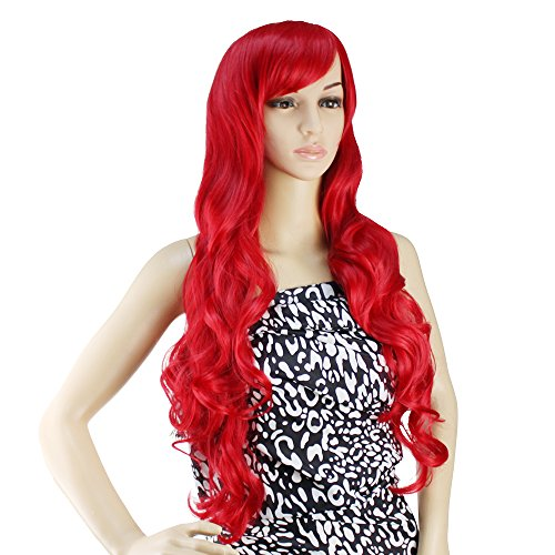 AGPtek 32 inch Heat Resistant Curly Wavy Long Cosplay Wigs - Bright Red ()