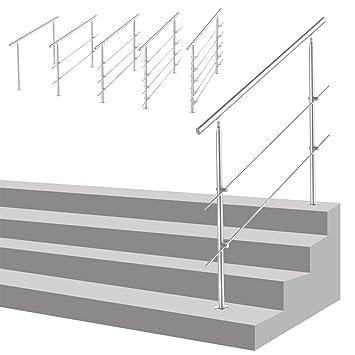 Silber Gel/änder Edelstahl Handlauf f/ür Treppen Br/üstung Balkon mit 2 Pfosten 120 cm 2 Querstreben