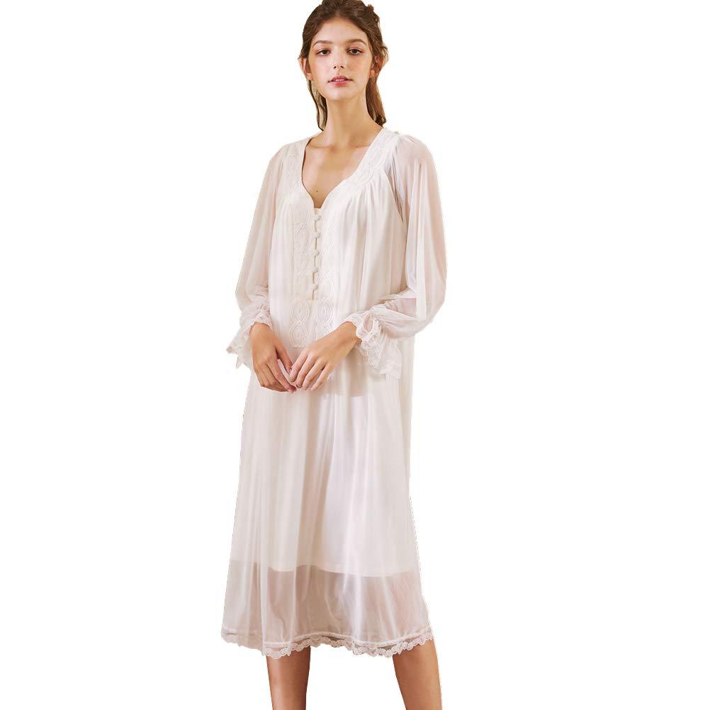 Flaydigo Donne Manica Lunga Cotone Camicia da Notte Lunghezza Midi Pizzo Principessa Notte Vestito Pajama Vestito,Indumenti da Notte