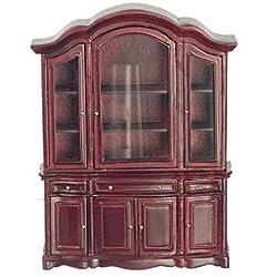 Meloody Jane Dollhouse Mahogany China Cabinet Showcase JBM Miniature Dining Room Furniture