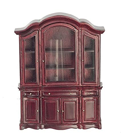 Meloody Jane Dollhouse Mahogany China Cabinet Showcase JBM Miniature Dining  Room Furniture