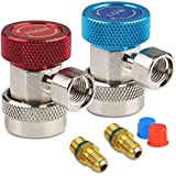JDMON Adjustable AC R134A Quick Coupler Connector Adapters Fitting High Low 1/4 inch SAE HVAC Manifold Gauge Hose Set (R134A)