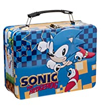 Sonic the Hedgehog Large Tin Tote Lunch Box Sega Genesis Game Blue Children