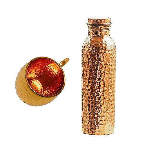 Copper Splash 30oz/900ml Pure Copper Water Bottle and 16oz hammered Moscow Mule Mug Bundle (Hammered Copper)