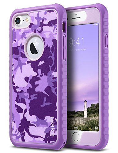 ULAK iPhone 8 & 7 Case Shock-Absorbing Flexible Durability TPU Bumper Case, Durable Anti-Slip, Front and Back Hard PC Defensive Protection Cover for Apple iPhone 7 4.7 inch,Romantic Purple