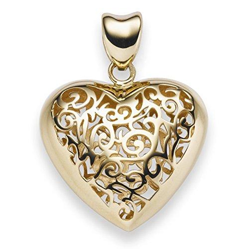 Pendentif cœur avec ornament 31x 23,5mm en or jaune 585Femme
