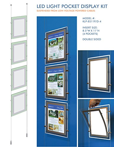 Suspended LED Light Pocket for Real Estate Window Displays - Cable Suspended Poster Display Kit with 4 (four) LED Light Pockets - Double Sided (Insert Size 8.5