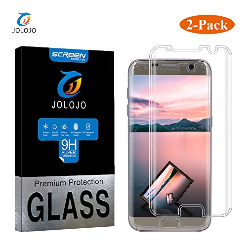 Galaxy S7 Edge Screen Protector, JOLOJO [Case Friendly] 98% Coverage 3D Curved Tempered Glass Screen Film, Ultra Thin 0.01 Inch, Super HD Clear, 9H Hardness Anti-Scratch, Easy Installation - Clear