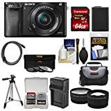 Sony Alpha A6000 Wi-Fi Digital Camera & 16-50mm Lens with 64GB Card + Case + Battery/Charger + Tripod + Tele/Wide Lens Kit For Sale