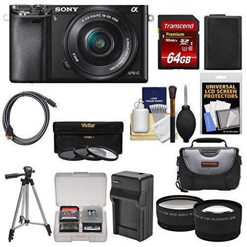 Sony Alpha A6000 Wi-Fi Digital Camera & 16-50mm Lens with 64GB Card + Case + Battery/Charger + Tripod + Tele/Wide Lens Kit