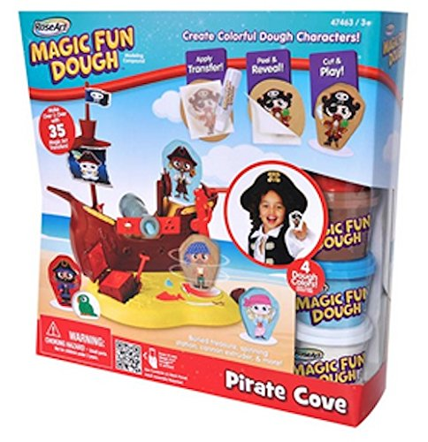 Pirate Cove Magic Fun Dough Modeling Compound Ship with Buried Treasure, Spinning Station, Cannon Extruder & More