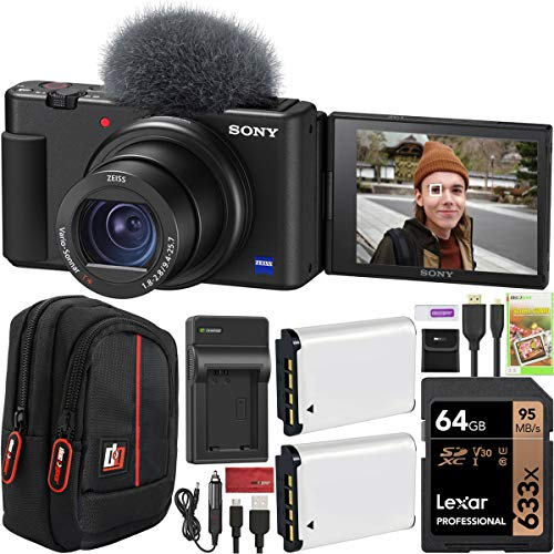 Sony ZV-1 Compact Digital Vlogging 4K HDR Video Camera for Content Creators & Vloggers DCZV1/B Double Battery Bundle with Deco Gear Case + 64GB Card + External Charger and Accessories