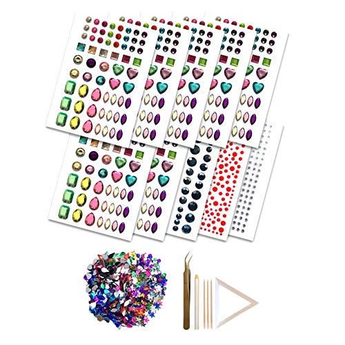 COZYOURS Self-Adhesive Rhinestone Stickers, 10 Sheets, 1080 Pcs ∣Acrylic Flatback Gems, 600 Pcs ∣Rhinestone Tray ∣Tweezers ∣ Pick up Pencil ∣ Orange Wood Sticks | + 546 Adult Coloring Patterns! by COZYOURS