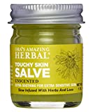 Touchy Skin Healing Salve Intensive Moisturizer for Dry Skin, Natural Eczema Treatment Organic Coconut Oil Calendula, Anti-itch Licorice Root, Dry Hands Cracked Heels, Unscented, Ora's Amazing Herbal