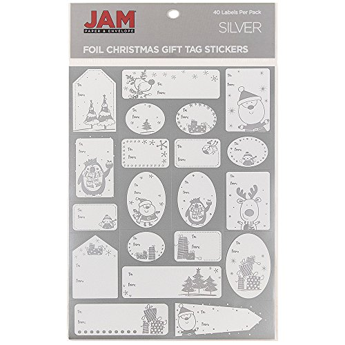 JAM PAPER To/From Christmas Gift Tag Stickers - Matte Foil Silver - 40/Pack