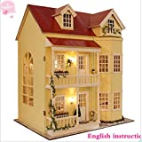 DIY Holz Puppenhaus, Handwerk Miniatur kit-large Villa & Möbel