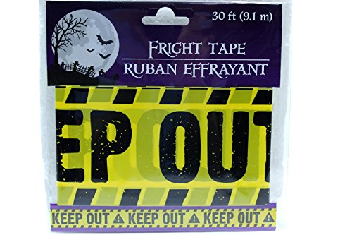 [30 ft Yellow Keep Out Fright Tape Halloween Decoration Haunted (Pack of 2)] (Crime Scene Decorations)