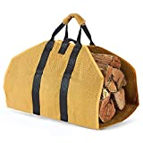 LBG Products Heavy Duty Canvas Log Carrier Storage Carrying Bag, Durable Large Firewood