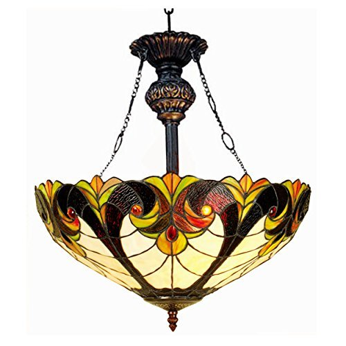 Chloe Lighting CH18780VI18-UH2 Liaison Tiffany-Style Victorian Inverted Ceiling Pendant with 18