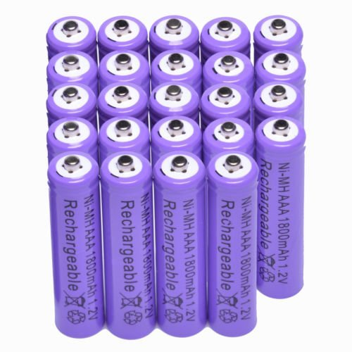 Purple rechargeable battery 1800mAh 1.2 V Ni-MH for MP3 RC Toys Camera 24x AAA (Racers Edge Nimh)