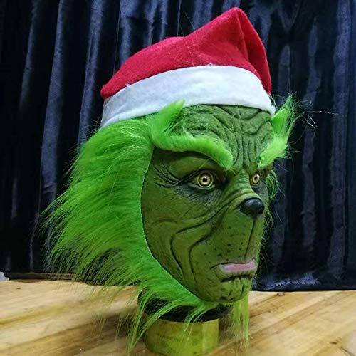 LIZHIOO Divertido Grinch Rob/ó Navidad Cosplay M/áscara de Fiesta Sombrero Xmas M/áscara de l/átex de Cabeza Completa con m/ás Disfraces for Adultos Accesorios de m/áscara de Grinch