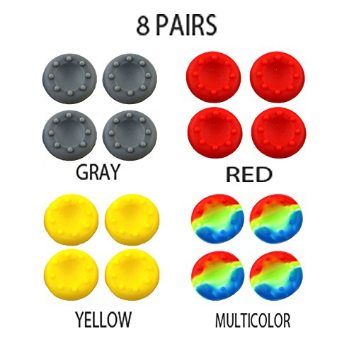 WELLSKEY 8 Pairs Thumb Grip Stick Cover For PS4 PS3 PS2 XBOX 360 ONE WII - Case Skin Joystick Controller - Pack of 16 pcs (4 Gray + 4 Red + 4 Yellow + 4 Multicolor) Set # 7