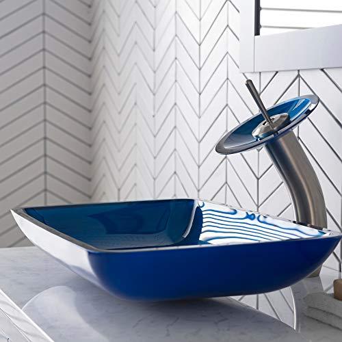(Kraus C-GVR-204-RE-10SN Irruption Blue Rectangular Glass Vessel Sink and Waterfall Faucet Satin Nickel)