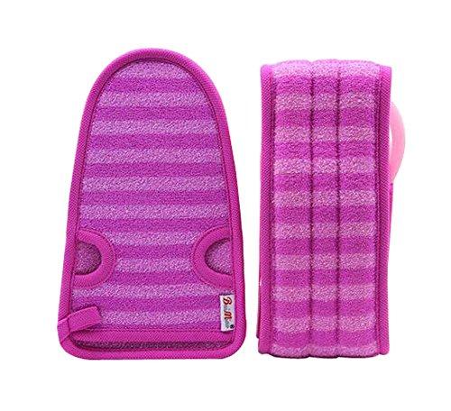2 Of Soft Bath Mitts Exfoliating Gloves Bath Belts For Female  Purple