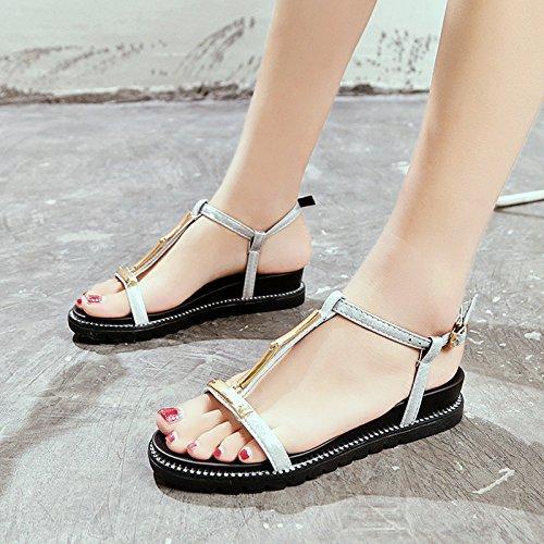 piedi le da con YMFIE scarpe spiaggia piatto dei a fondo comoda sandali dita silvery antiscivolo Onorevoli semplice moda estate qW6aqRF0