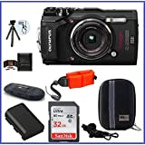 Olympus Stylus TOUGH TG-5 Digital Camera (Black) PRO Bundle includes; 32GB SDHC Memory Card + Olympus Floating Wrist Strap (Red) + Extra Battery + Flexible Tripod and more...