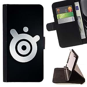 For Samsung Galaxy Note 4 IV Case , Logo minimalista Altavoz- la tarjeta de Crédito Slots PU Funda de cuero Monedero caso cubierta de piel