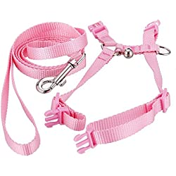 TEKEFT Adjustable Pet Rabbit Harness Leash Lead with Small Bell (Pink)