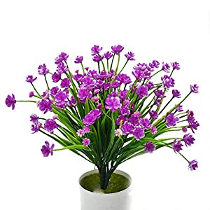 Packozy Artificial Flowers, 4pcs Faux Daffodils Outdoor UV Resistant Greenery Shrubs Plants Indoor Outside Hanging Planter Home Garden Wedding Cemetery Decor(Fuchsia) 80