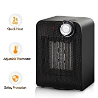 Portable Space Heater - 1500W Mini Ceramic Heater with Adjustable Thermostat, Hot & Cool Fan Oscillating Indoor Heater with Overheating & Tip-Over Protection for Table Desk Floor Office Home Use