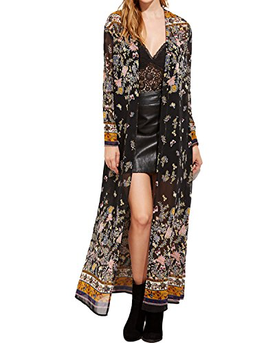 Manteau Manches Femme Floral Imprim Boho Longues StyleDome Kimono HqSw5np