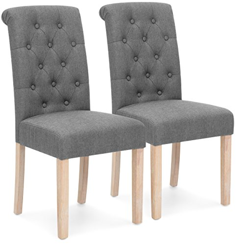 Best Choice Products Set of 2 Tufted High Back Parsons Dining Chairs Gray