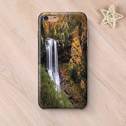 Copper Waterfalls Leaf (Waterfall Hard Shell Compatible with iPhone Case,Autumn Waterfalls with Trees and Pale Fall Leaves in The Forest Print Compatible with iPhone 7/8,iPhone 6 Plus / 6s Plus)