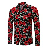 Longay Men's Floral Prints Shirt Plus Size Slim Fit Short Sleeves Casual Button Shirts Formal Printing Top Blouse (L, Black)