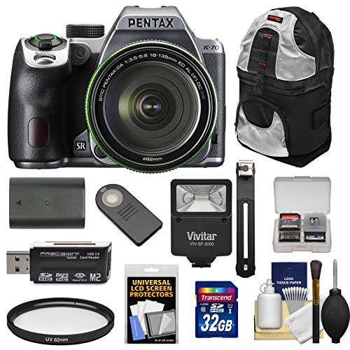 Pentax K-70 All Weather Wi-Fi Digital SLR Camera & 18-135mm WR Lens (Silver) with 32GB Card + Battery + Backpack + Flash + Kit (Battery Slr Camera Pentax)