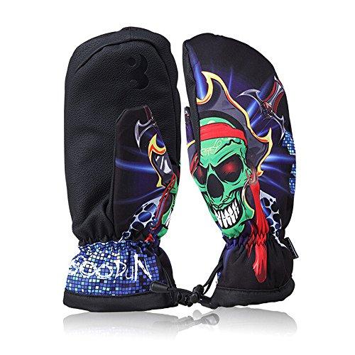 Ezyoutdoor Unisex Waterproof Warm Windproof Outdoor Ski Mittens Snow Skiing Snowboarding Snowmobile Bicycle Motorcycle Ski Gloves (Black Skull)