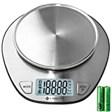 Etekcity 11lb/5kg Digital Multifunction Kitchen Food Scale with Liquid Volume Measurement and Auto Zero/Tare Function, 30% Larger Backlight Display, 4 GP Batteries Included